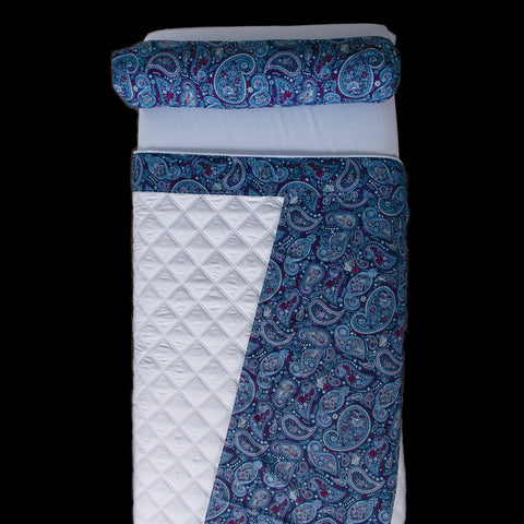 Image of Linens Starry Sapphire Paisley Face. Spa Blue Solid Back Sposh Massage Table Saddle Paisley Collection