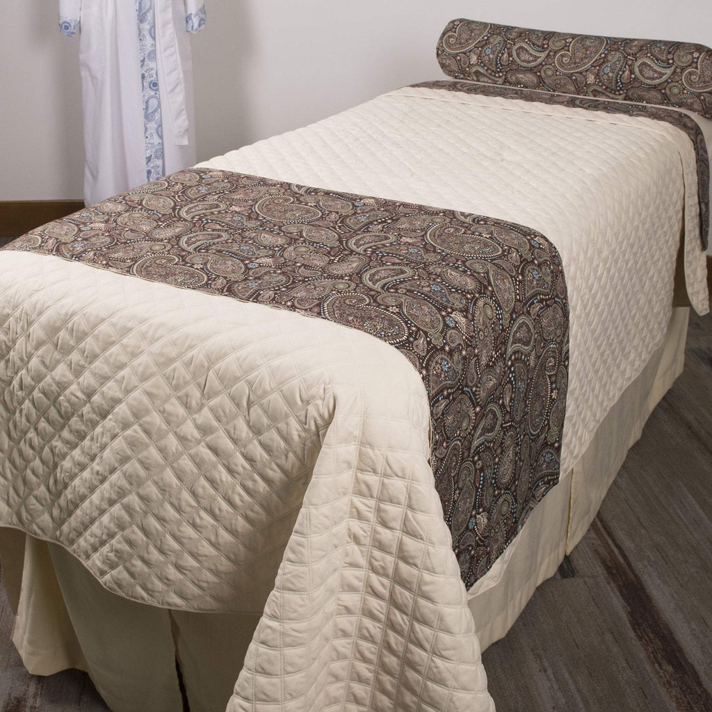 Linens White Sapphire Paisley Face / White Solid Back Sposh Massage Table Saddle Paisley Collection