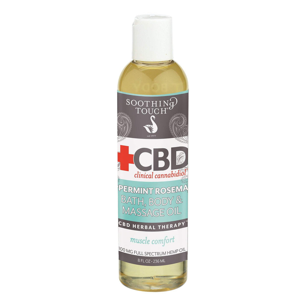 Massage Oils Soothing Touch CBD Peppermint Rosemary Bath, Body & Massage Oil  8 oz