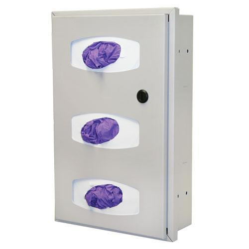 Semi Recessed Glove Box Dispenser, Triple, Quartz Beige