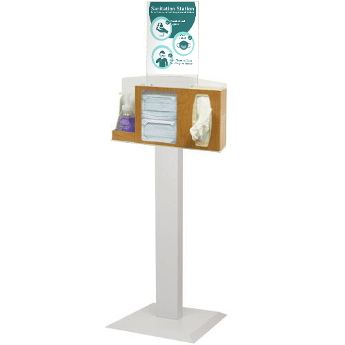Sanitation Station with Stand, Maple Fauxwood