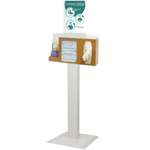 Image of Sanitation Station with Stand, Maple Fauxwood
