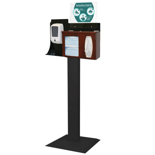 Sanitation Station with Dispenser Mount & Stand, Cherry Fauxwood