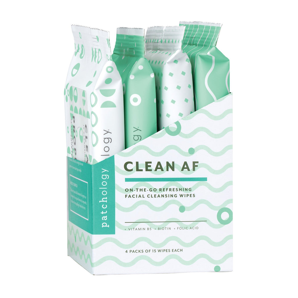 Pre-Pack Displays Patchology Clean AF On-the-Go Refreshing Facial Cleansing Wipes Display
