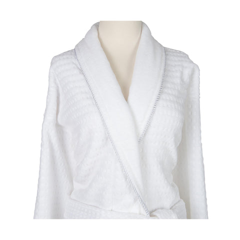 Image of Robes & Wrapes Sposh Regal Robe White with Silver Braided Trim
