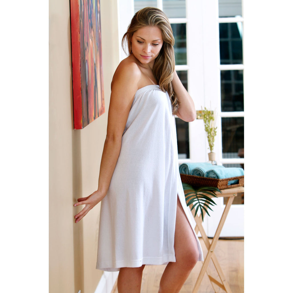 Robes & Wrapes White Terry Spa Wrap