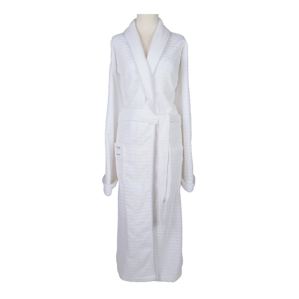 Robes & Wrapes XXL Sposh Regal Robe White with Silver Braided Trim