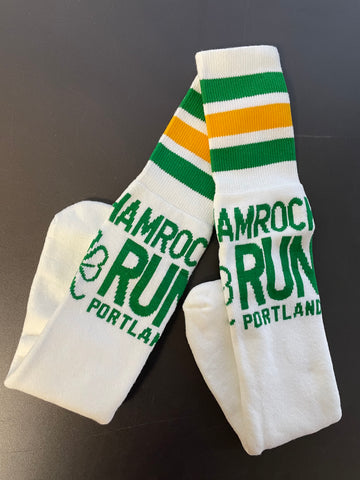 Portland Shamrock Run - White Knee Sock - FINAL SALE
