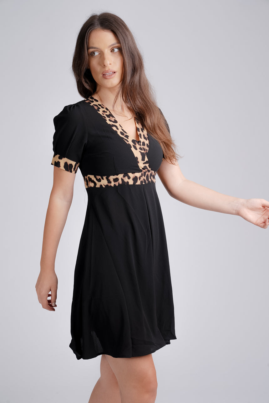 Leopard Trim Black Short Sleeve Midi Dress