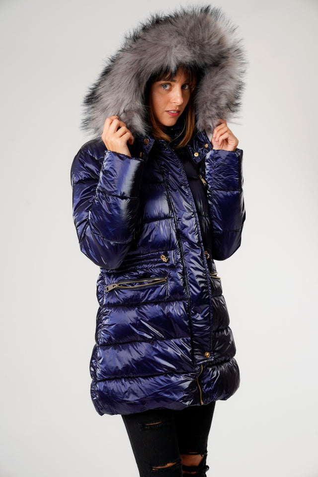 L&S Shiny Blue Long Puffer Coat with Gold Zips