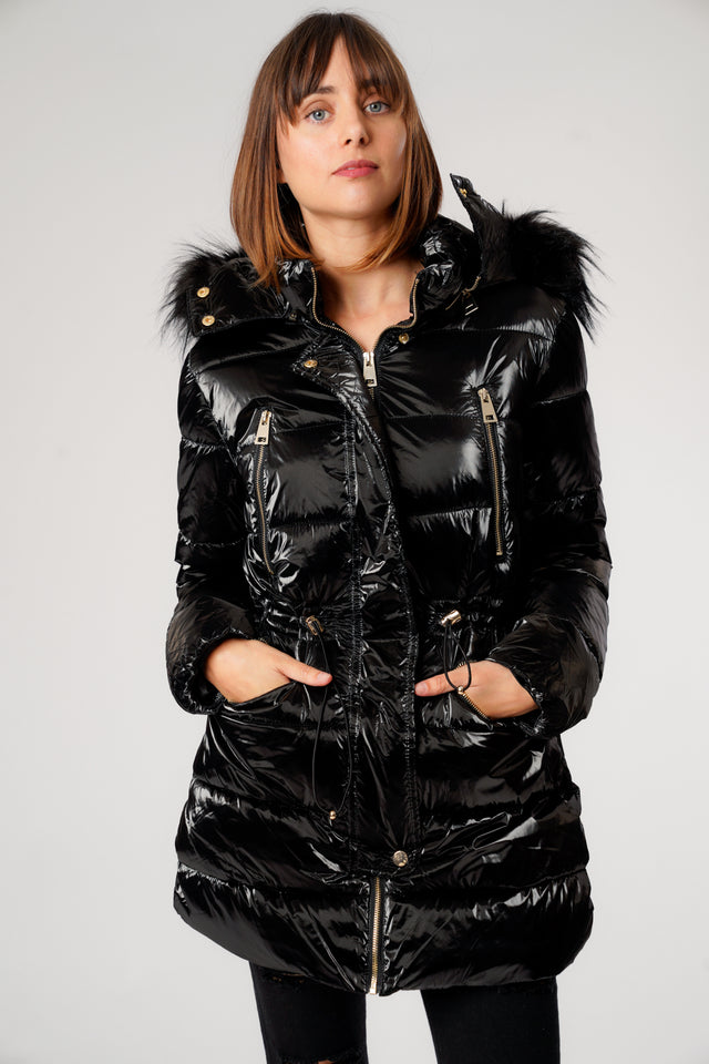 L&S Shiny Black Long Puffer Coat with Gold Zips
