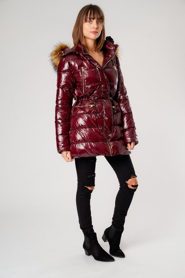 L&S Shiny Burgundy Long Puffer Coat with Gold Zips