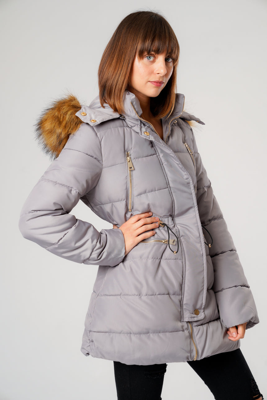 L&S Grey Long Puffer Coat with Gold Zips