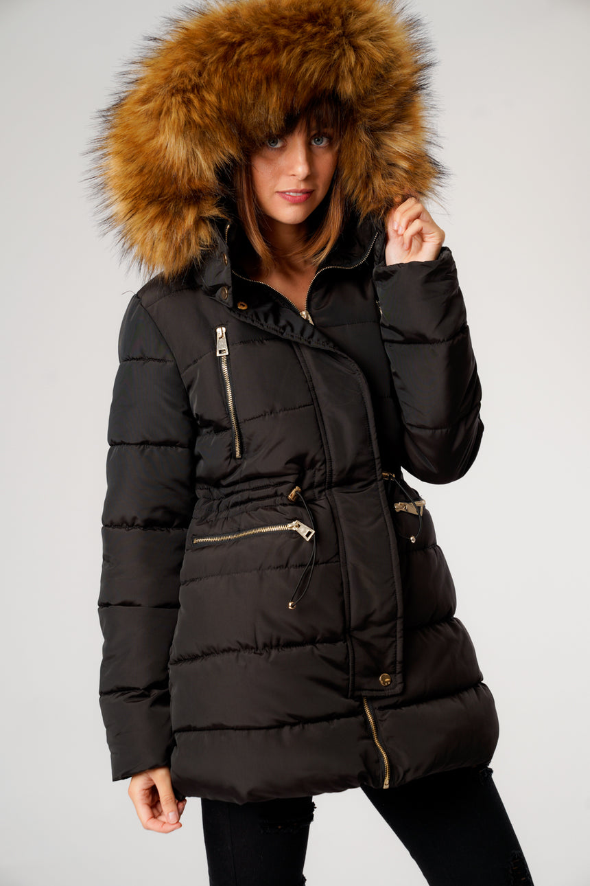 L&S Black Long Puffer Coat with Gold Zips