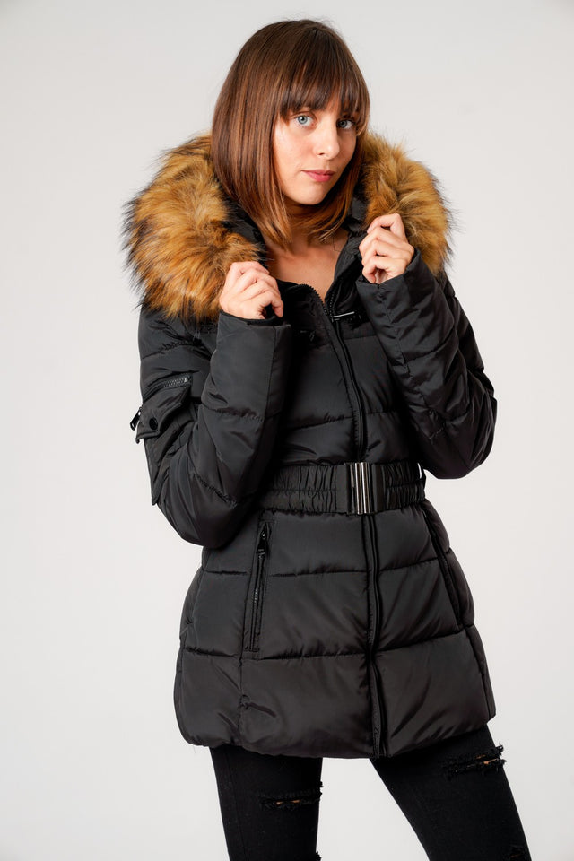 L&S Luxury Belted Puffer Jacket With Detachable Faux Fur