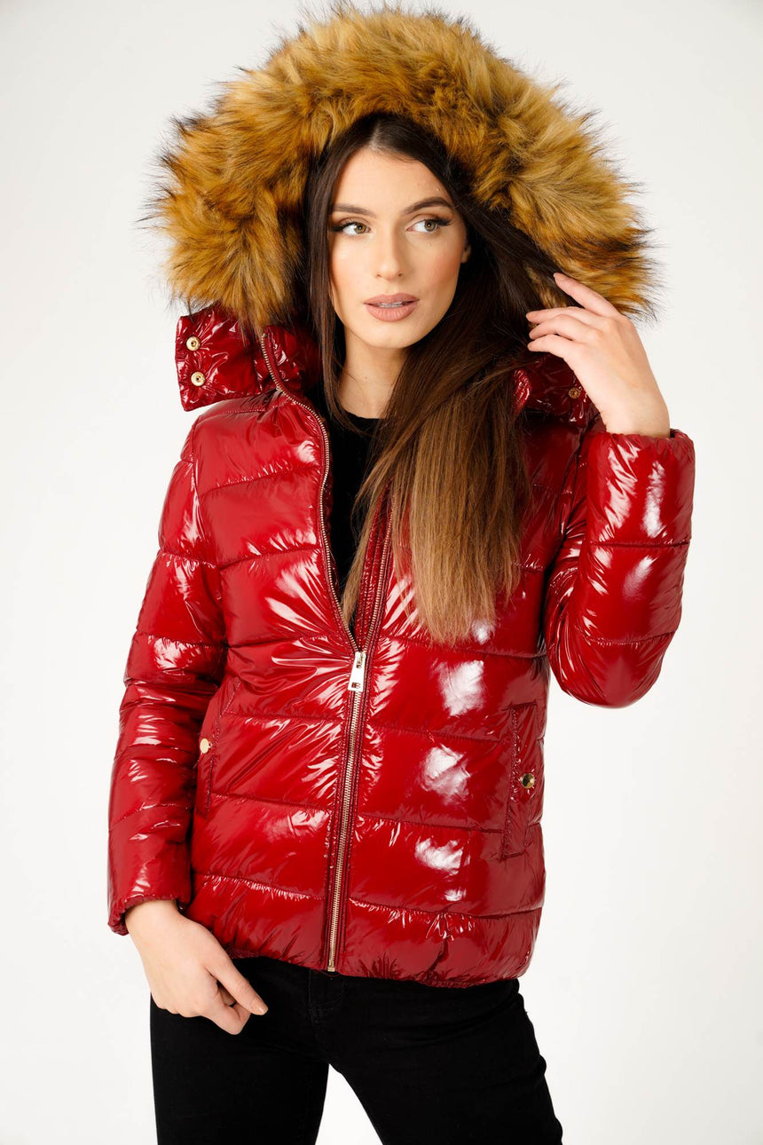 Wet Look Padded Jacket with Faux Fur Hood in Shiny Red