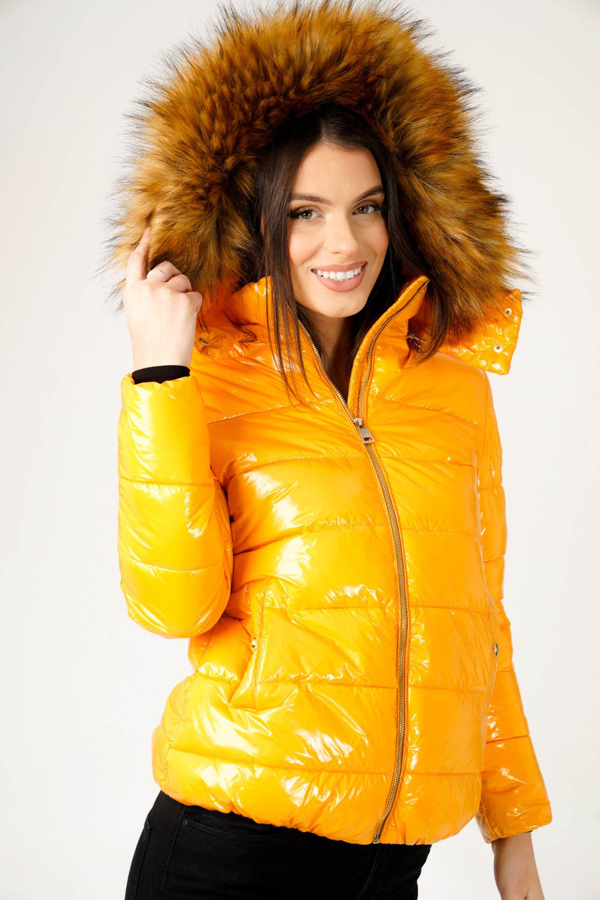 Wet Look Padded Jacket with Faux Fur Hood in Shiny Mustard