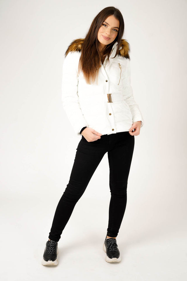 Padded Jacket with Faux Fur Hood in Pearl White