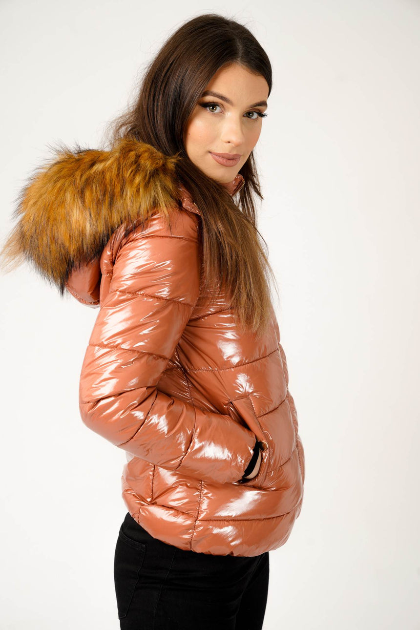 Wet Look Padded Jacket with Faux Fur Hood in Shiny Mocha