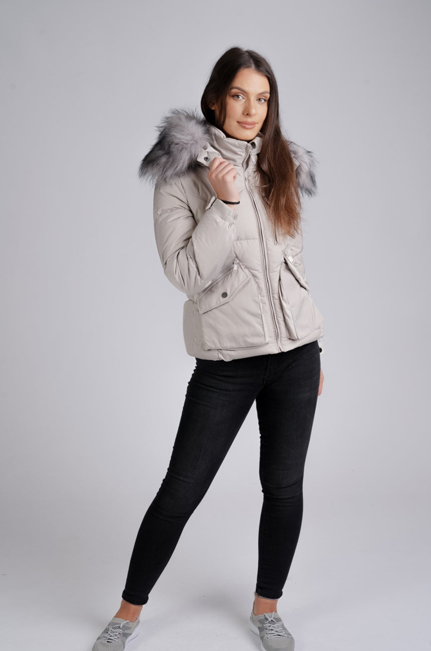 Light Grey Two Pockets Grey Faux Fur Hooded Puffer Jacket