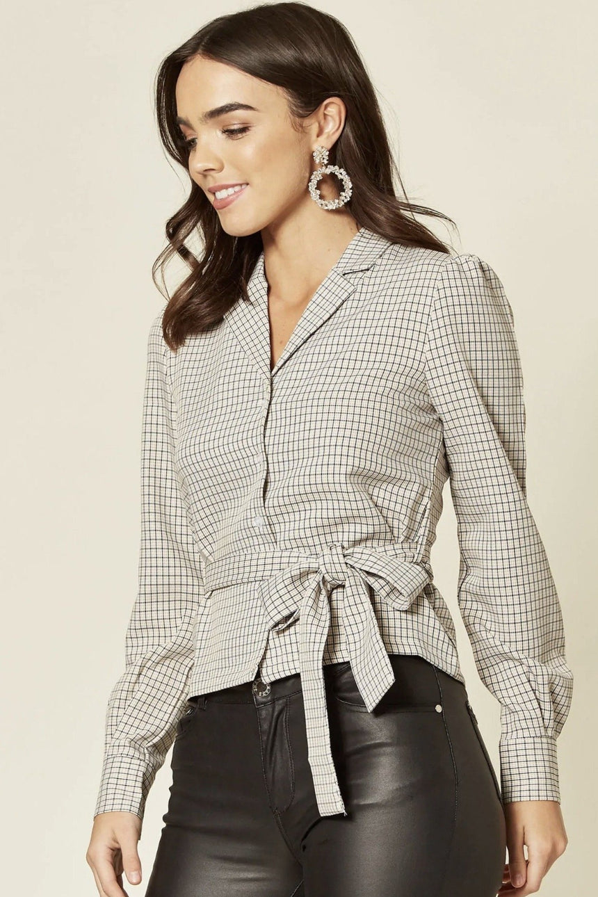 Cream Houndstooth Long Sleeve Tie Waist Top