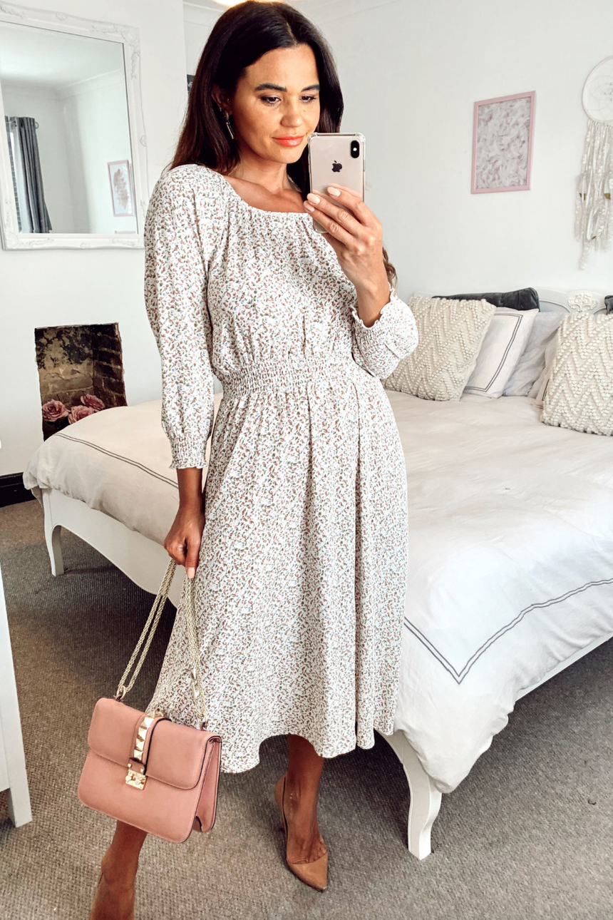 Floral Printed Chiffon Frill Sleeve White Midi Dress