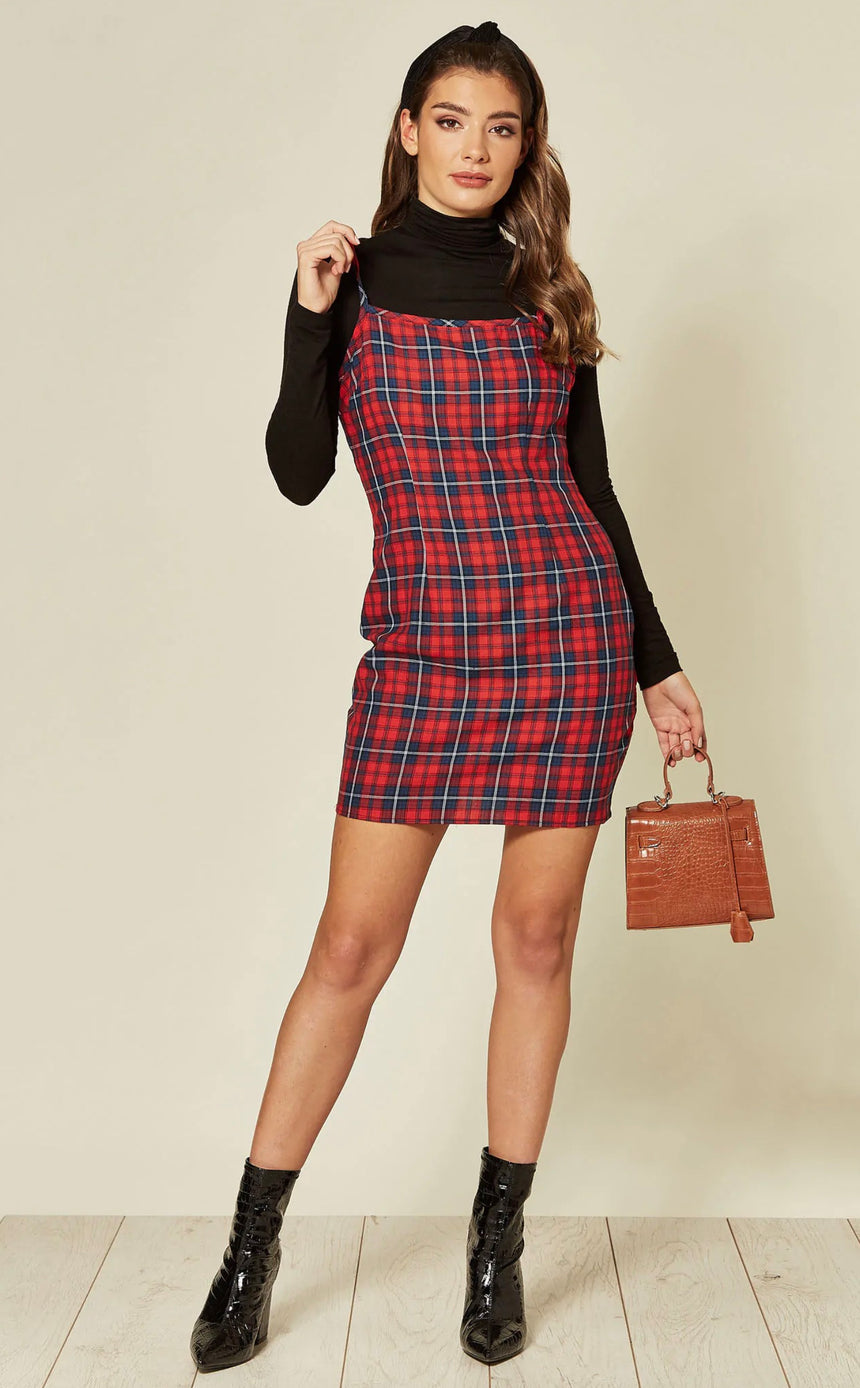 Red & Navy Tartan Cami Mini Dress
