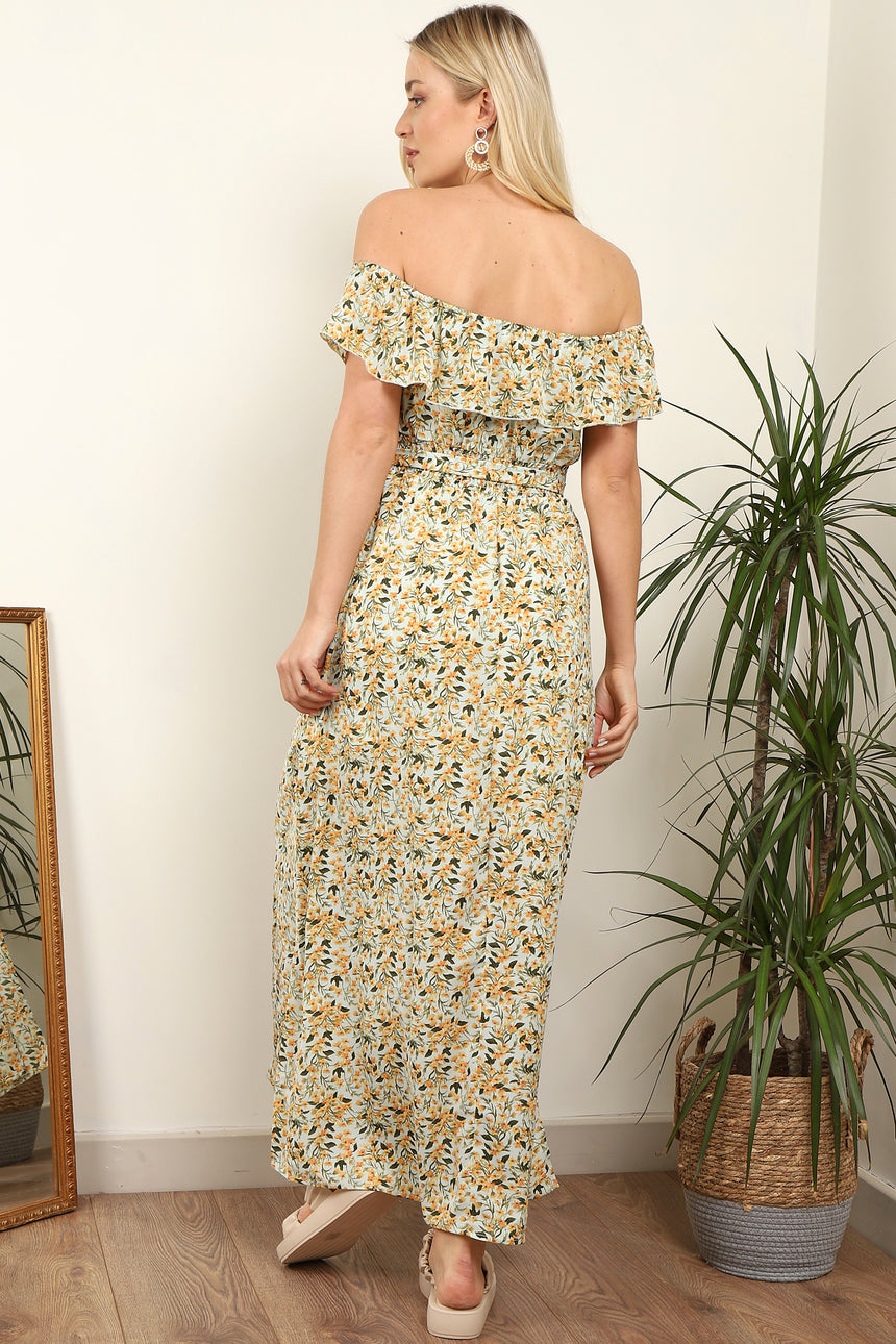 Yellow Floral Printed Frill Bardot Maxi Dress