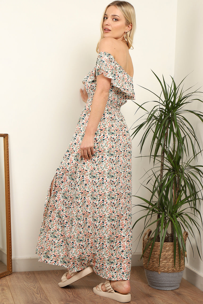 Pink Floral Printed Frill Bardot Maxi Dress