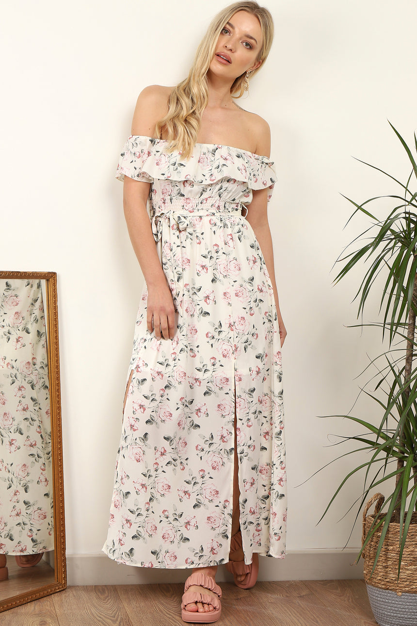 White Floral Printed Frill Bardot Maxi Dress