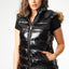 L&S Black Wet look Padded Gilet with Faux Fur Hood