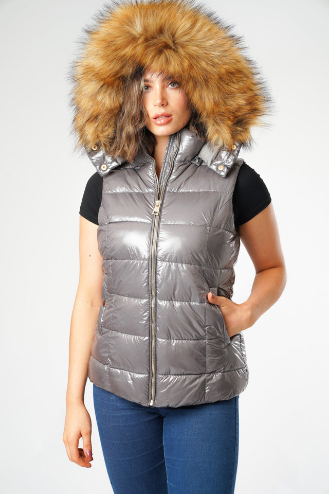 Grey Wet look Padded Gilet with Faux Fur Hood