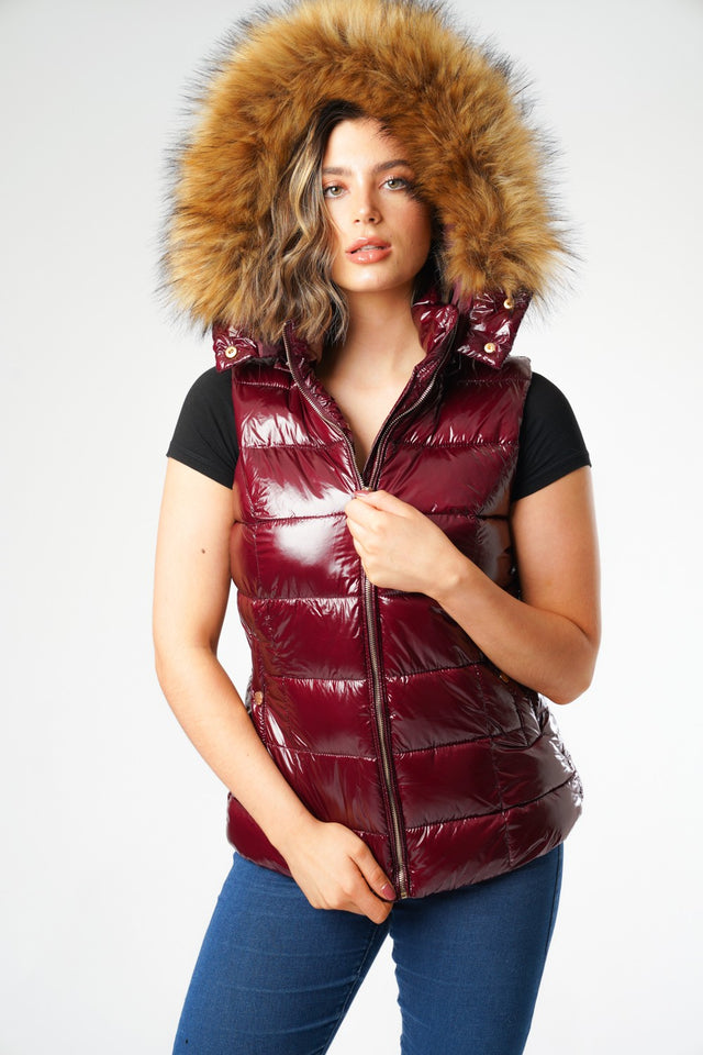 Burgundy Wet look Padded Gilet with Faux Fur Hood