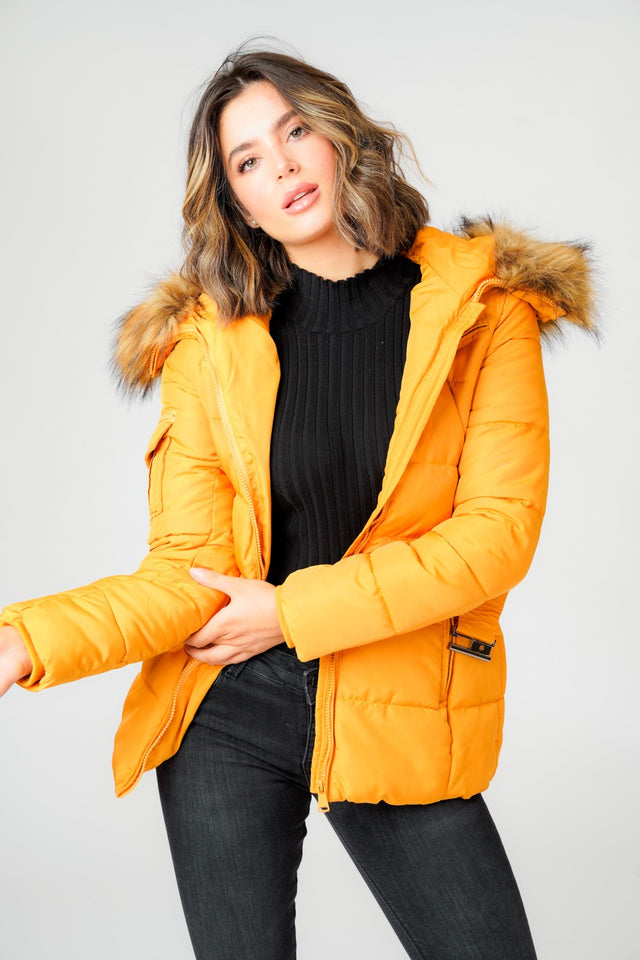 L&S Luxury Mustard Belted Puffer Coat with Faux Fur hood