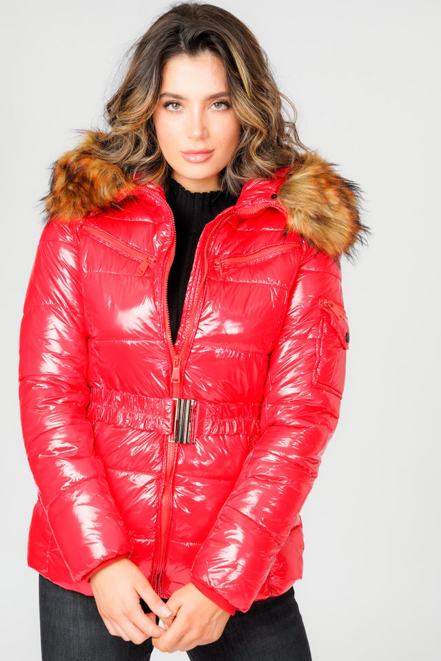 L&S Shiny Red Belted Puffer Coat with Faux Fur hood