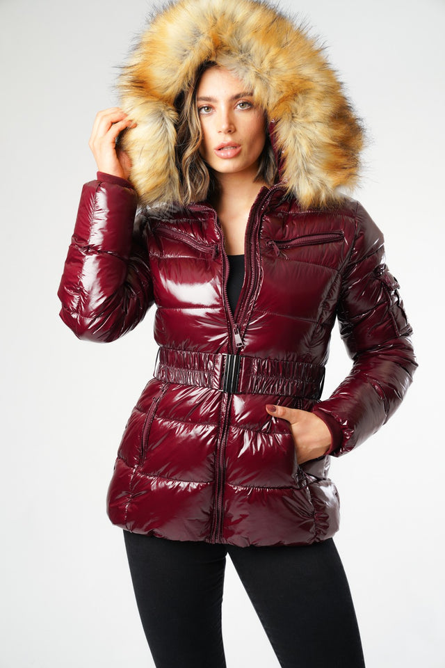 L&S Shiny Merlot Belted Puffer Coat with Faux Fur hood