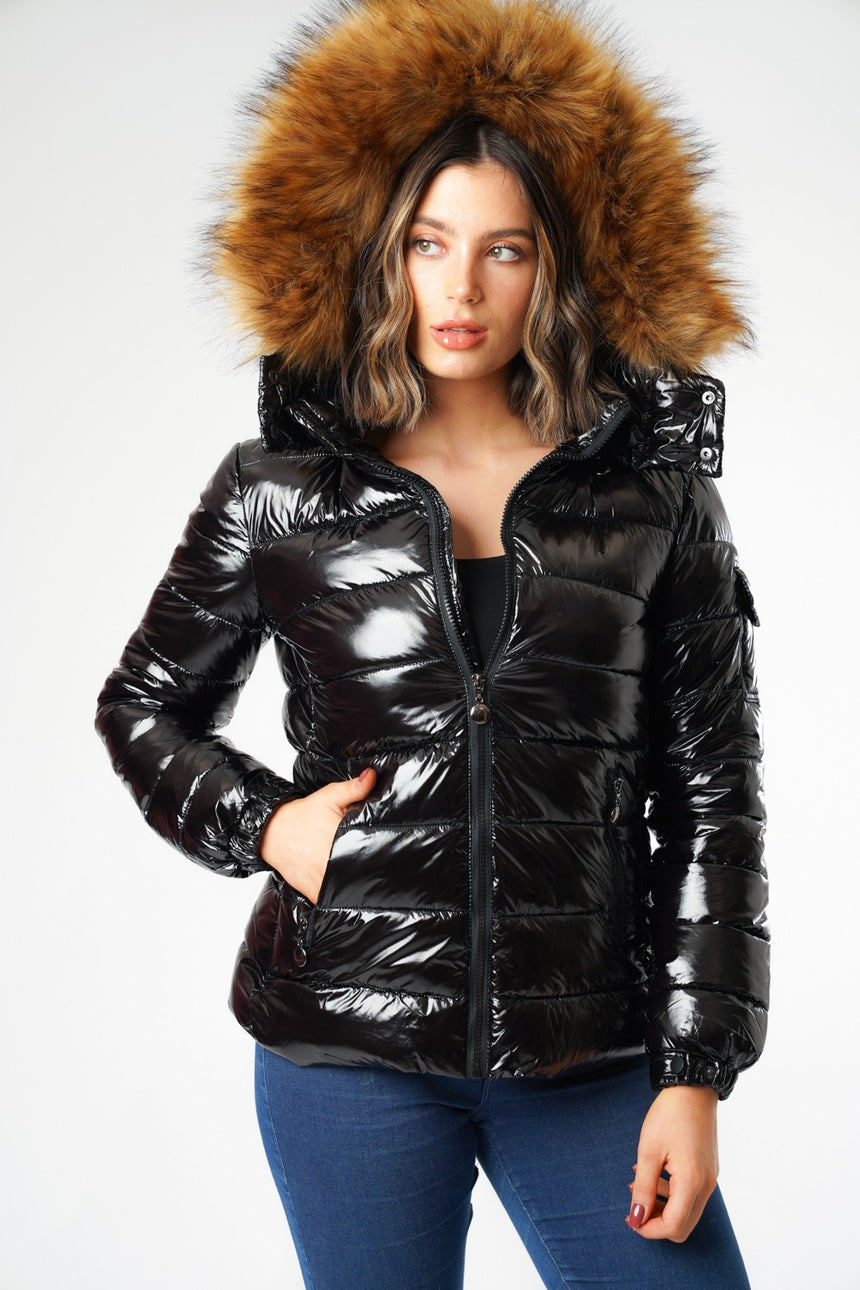 L&S Shiny Black Padded Puffer Coat with Detachable Faux Fur Hood