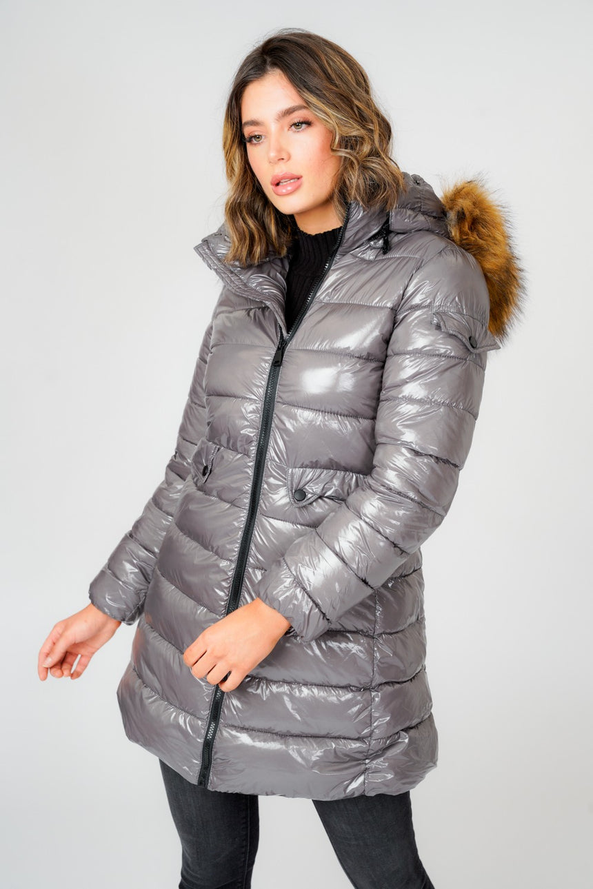L&S Shiny Grey Long Puffer Coat with Natual Faux Fur hood