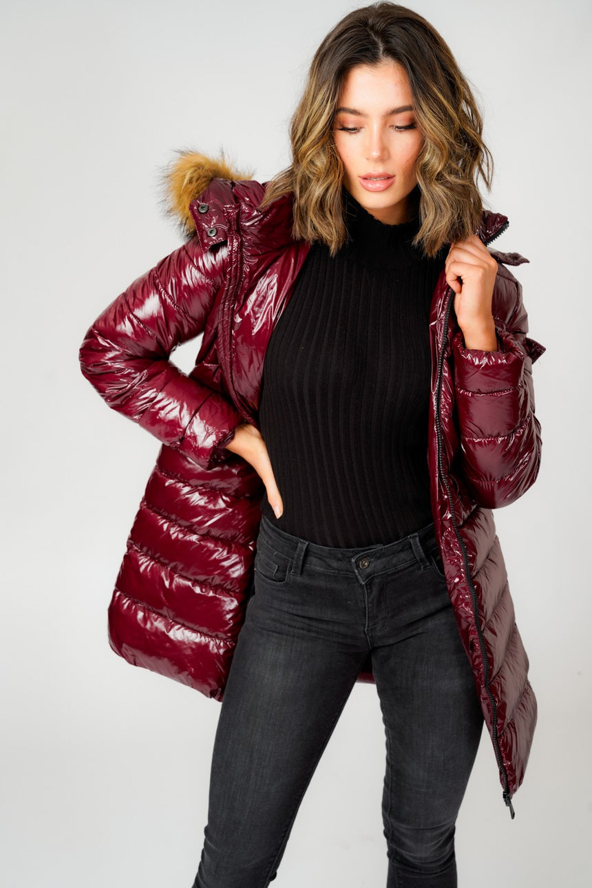 L&S Shiny Burgundy Long Puffer Coat with Natual Faux Fur hood