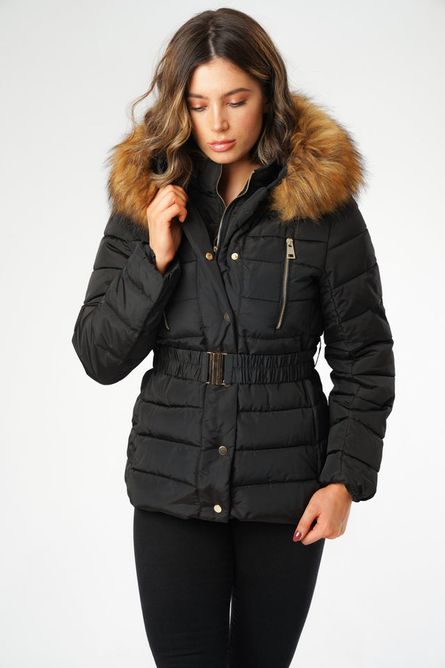 L&S Black Puffer Jacket with Belt and Faux Fur Hood