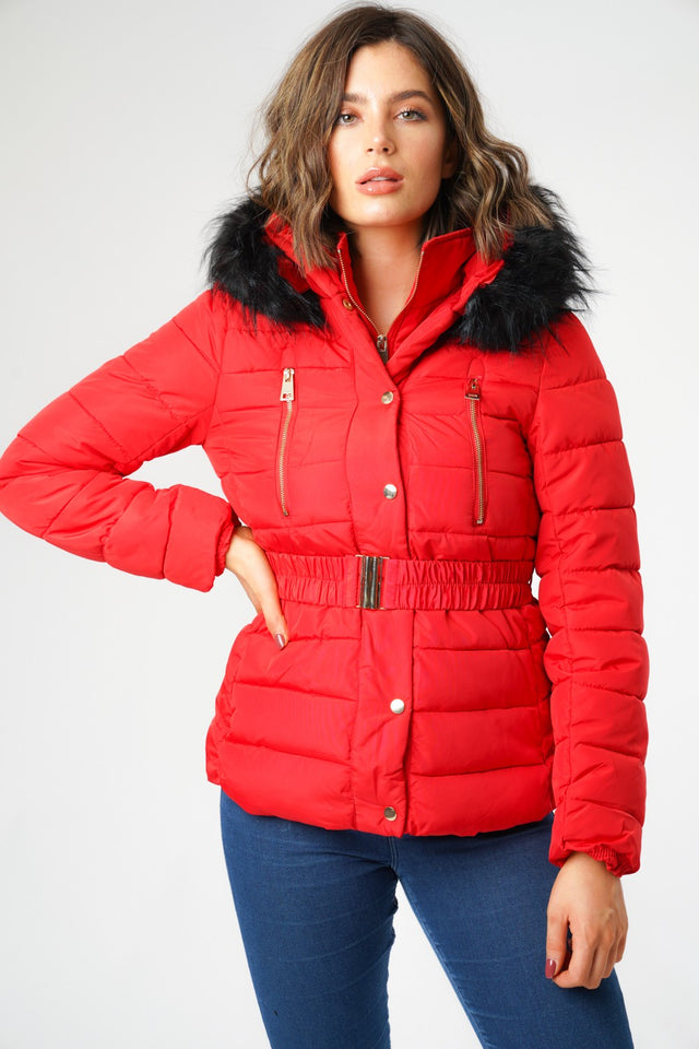 L&S Red Puffer Jacket with Belt and Faux Fur Hood