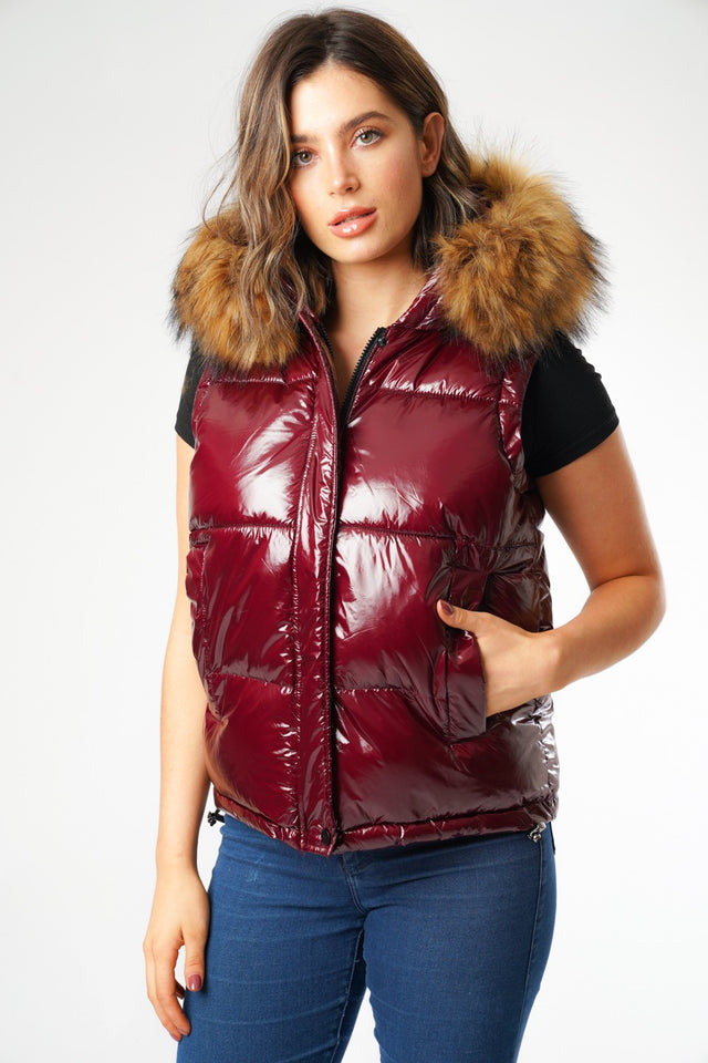 Shiny Burgundy Body Warmer Padded Gilet with Faux Fur Hood