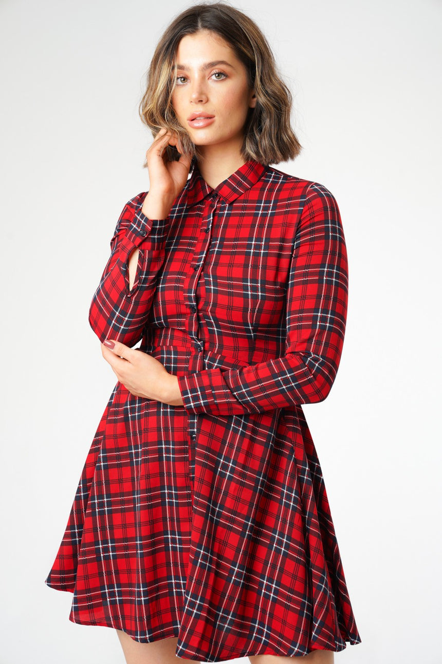 Red Tartan Woven Check Dress