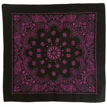 Load image into Gallery viewer, black bandana with hot pink paisley print