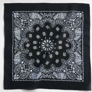Large Black & White Cowboy Bandana