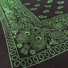 Load image into Gallery viewer, Black & Green Floral Paisley Bandana