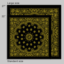 Load image into Gallery viewer, Large Black & Yellow Cowboy Bandana