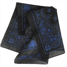 Load image into Gallery viewer, Black bandana with blue paisley print a folded view