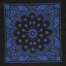 Load image into Gallery viewer, Black and blue bandana whole pattern view