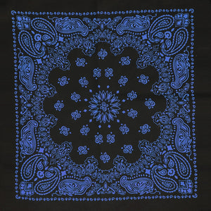 Black and blue bandana whole pattern view